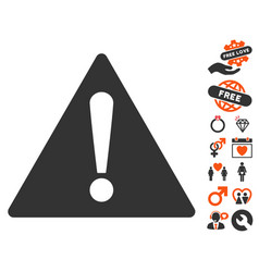 warning icon with dating bonus vector image