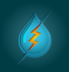 water bolt symbol with multi layer deep paper cut vector image