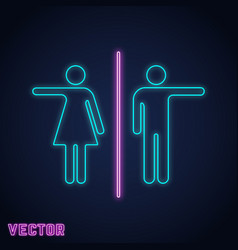 Wc toilet sign neon light design vector