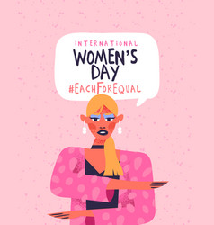 Womens day each for equal pink woman card vector