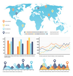 world map with worldwide infographics visual data vector image