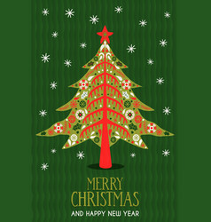 year scandinavian pine tree card vector image
