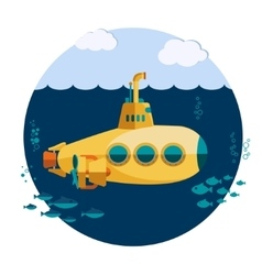 Yellow Submarine undersea vector image