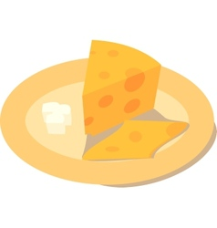 Cheese with a butter on a plate vector