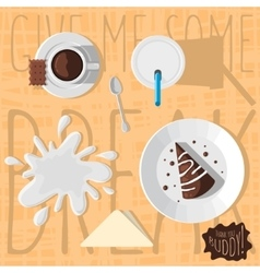 Chocolate Cake With Glaze Paper Mug Of Milk Cup vector image