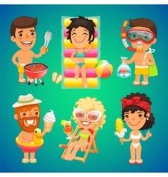 Happy Cartoon Characters on the Beach vector image