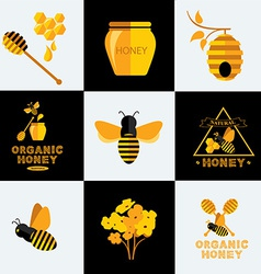 Set Honey icons and labels vector image vector image