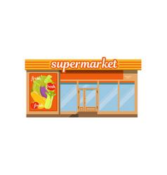 supermarket facade store with showcase vector image