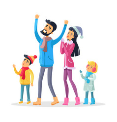 family together celebrate new year and look up vector image