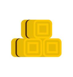 Hay bundles icon flat style vector