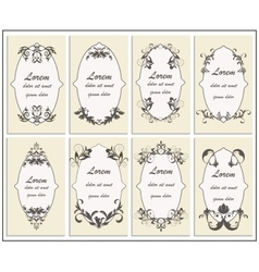 Set floral ornament frame vector image