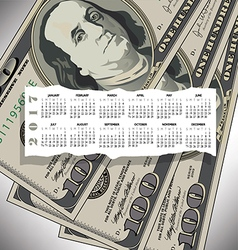 A 2017 calendar with a 100 dollar bill design vector image vector image