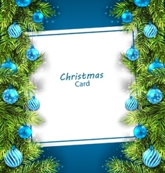 Christmas Card with Fir Twigs and Glass Balls vector image vector image