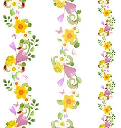 collection vertical seamless borders with spring vector image vector image