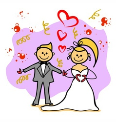 hand-drawn wedding cartoon character vector image