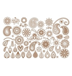 Henna tattoo doodle elements vector image