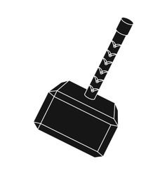 Viking battle hammer icon in black style isolated vector image