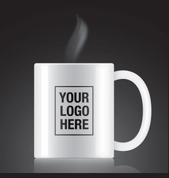 White coffee mug vector