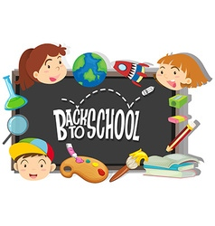 Back to school theme with boy and girls vector image