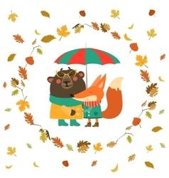 Cute fox and bear hugging under umbrella in wreath vector image vector image