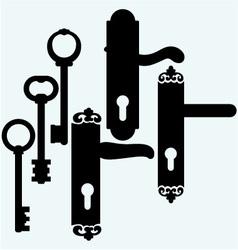 Door handles and keys vector image vector image