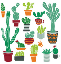 flat collection of cute potted cactuses vector image
