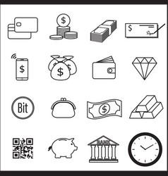 set of money line icon vector image