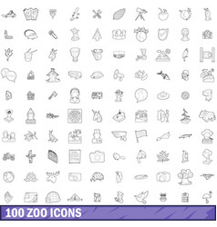 100 zoo icons set outline style vector image