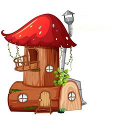 A mushroom wooden house vector