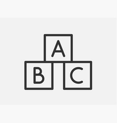 abc cubes toy icon on white background line style vector image