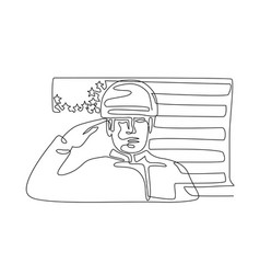 american soldier saluting usa flag continuous line vector image