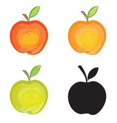Apple sign isolated apple fruit set fresh farm vector