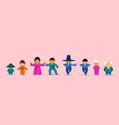 asian family wearing traditional clothes cartoon vector image