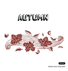 Autumn leaves and wind vector image