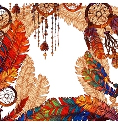 Background with bright feather and Dream catcher vector image
