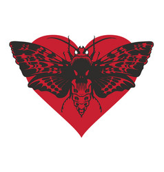 banner with butterfly dead head on red heart vector image