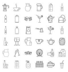 barrel icons set outline style vector image