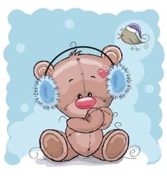 Bear in a fur headphones vector
