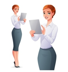Beautiful business woman using tablet computer vector