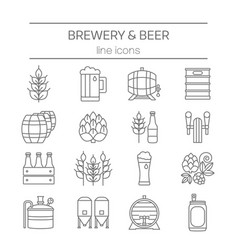 beer and brewery line icons set vector image