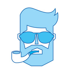 blue icon man face vector image