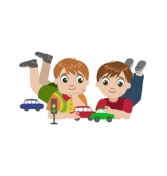 Boys Playing With Toy Cars vector