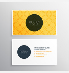 Business card template in yellow pattern color vector