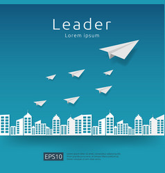 business leadership and teamwork paper plane vector image