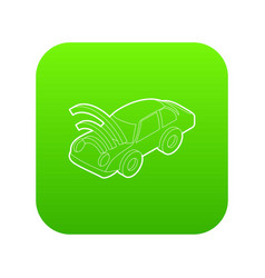 Car with wifi sign icon green vector