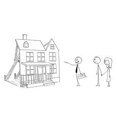 Cartoon businessman or real estate broker or vector