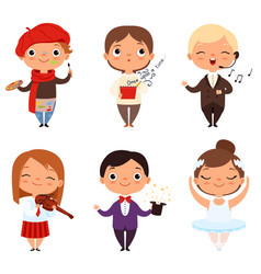 cartoon of various creative kids vector image