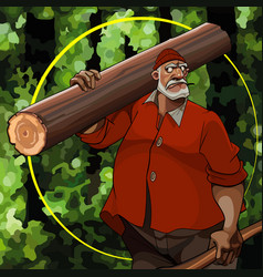 Cartoon serious gray haired man carries a log on vector