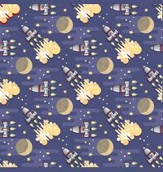 Cartoon space rocket celestial seamles vector