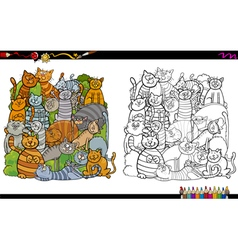 cat characters coloring book vector image